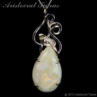 Lady Katherine 925 silver leaf Opal necklace picture 1