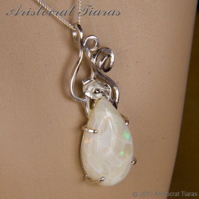 Lady Katherine 925 silver leaf Opal necklace picture 11