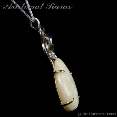 Lady Katherine 925 silver leaf Opal necklace picture 8