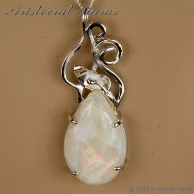 Lady Katherine 925 silver leaf Opal necklace picture 9