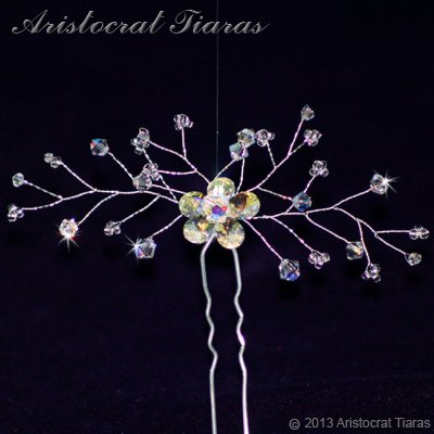 Lady Lyra Swarovski flower hair pin - click for supersize image