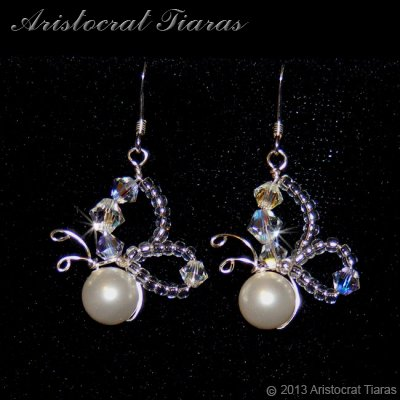 Lady Nessalyn butterfly handmade bridal earrings picture 1