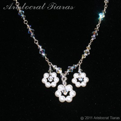 Lady Petunia flowers handmade Swarovski necklace - click for supersize image