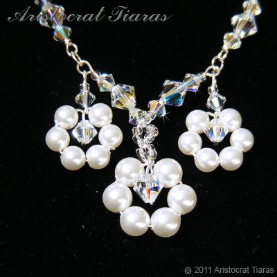 Lady Petunia flowers handmade Swarovski necklace picture 4