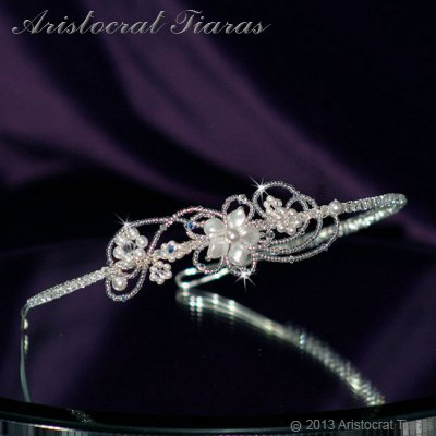 Lady Rosaleen handmade Swarovski pearl flower bridal headband - click for supersize image