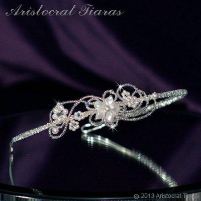 Lady Rosaleen handmade Swarovski pearl flower bridal headband picture 1
