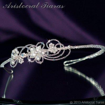 Lady Rosaleen handmade Swarovski pearl flower bridal headband picture 2