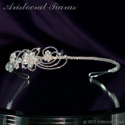 Lady Rosaleen handmade Swarovski pearl flower bridal headband picture 3