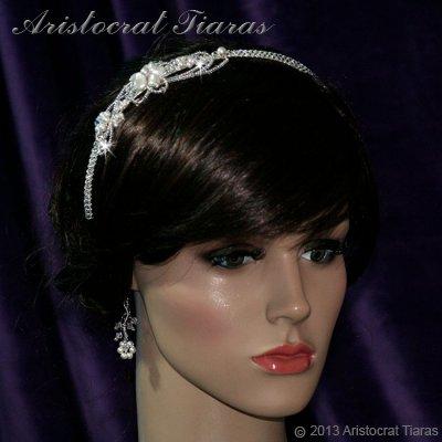 Lady Rosaleen handmade Swarovski pearl flower bridal headband picture 4