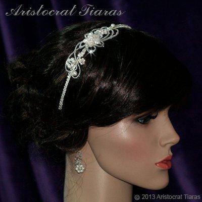 Lady Rosaleen handmade Swarovski pearl flower bridal headband picture 5