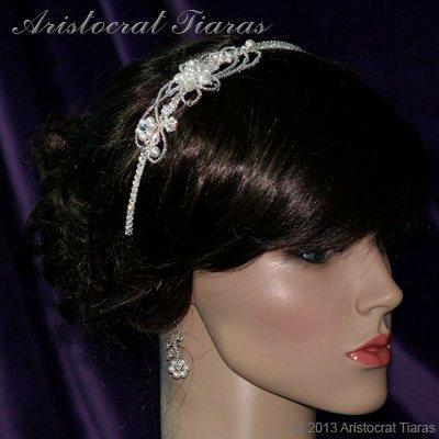 Lady Rosaleen handmade Swarovski pearl flower bridal headband picture 6