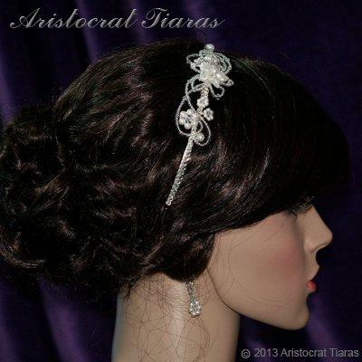 Lady Rosaleen handmade Swarovski pearl flower bridal headband picture 7