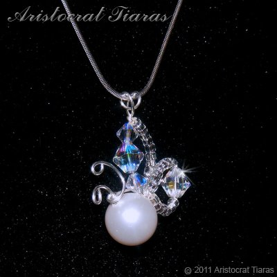 Lady Pearl butterfly handmade crystal 925 necklace picture 3