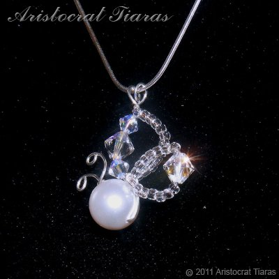 Lady Pearl butterfly handmade crystal 925 necklace picture 4