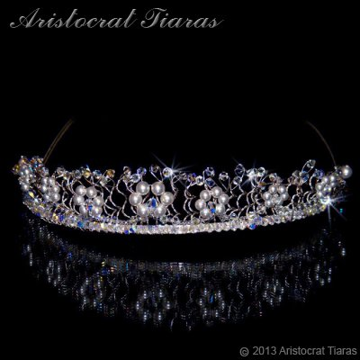 Princess Aurora flowers handmade wedding tiara - click for supersize image