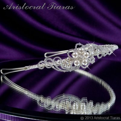 Princess Laura floral Swarovski bridal headband - click for supersize image