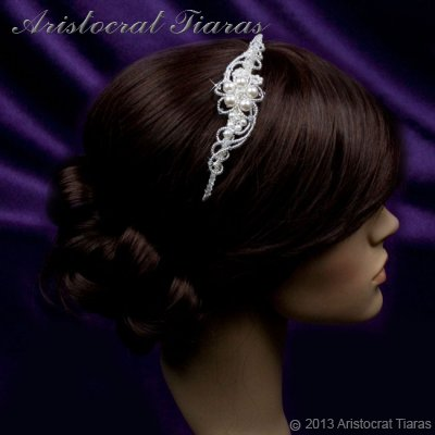 Princess Laura floral Swarovski bridal headband picture 11