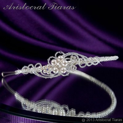 Princess Laura floral Swarovski bridal headband picture 2