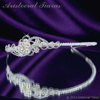 Princess Laura floral Swarovski bridal headband picture 3
