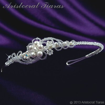 Princess Laura floral Swarovski bridal headband picture 6