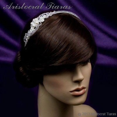 Princess Laura floral Swarovski bridal headband picture 9