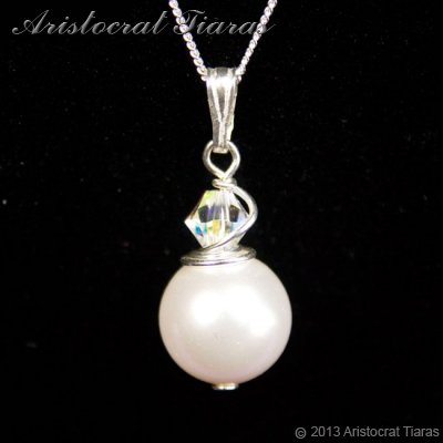 Princess Roza 925 silver Swarovski pearl necklace picture 1