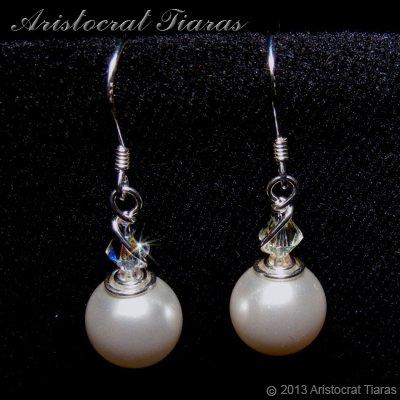 Princess Roza handmade Swarovski pearl 925 earrings - click for supersize image