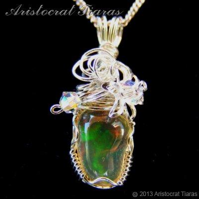 Swirls design opal handmade Swarovski 925 necklace - click for supersize image