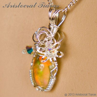 Swirls design opal handmade Swarovski 925 necklace picture 10