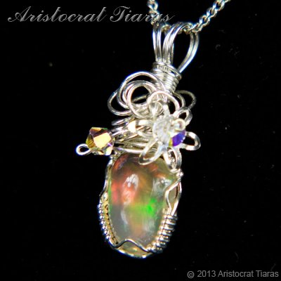 Swirls design opal handmade Swarovski 925 necklace picture 4