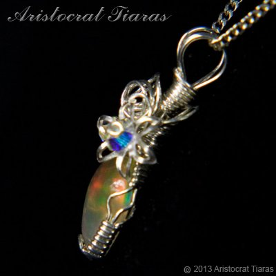 Swirls design opal handmade Swarovski 925 necklace picture 5