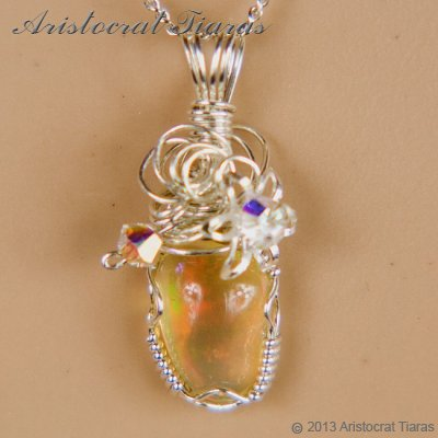 Swirls design opal handmade Swarovski 925 necklace picture 6