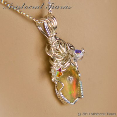Swirls design opal handmade Swarovski 925 necklace picture 8