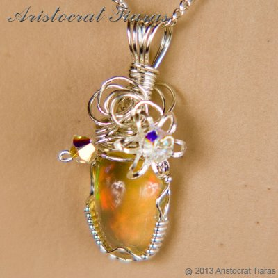 Swirls design opal handmade Swarovski 925 necklace picture 9